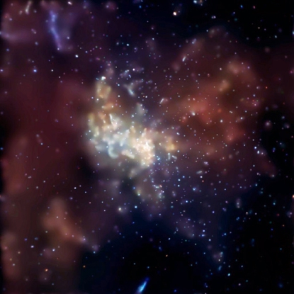 The center of our galaxy, including the supermassive black hole Sagittarius A*, as viewed in the X-ray with the Chandra space telescope (Baganoff et al., CXC, NASA).